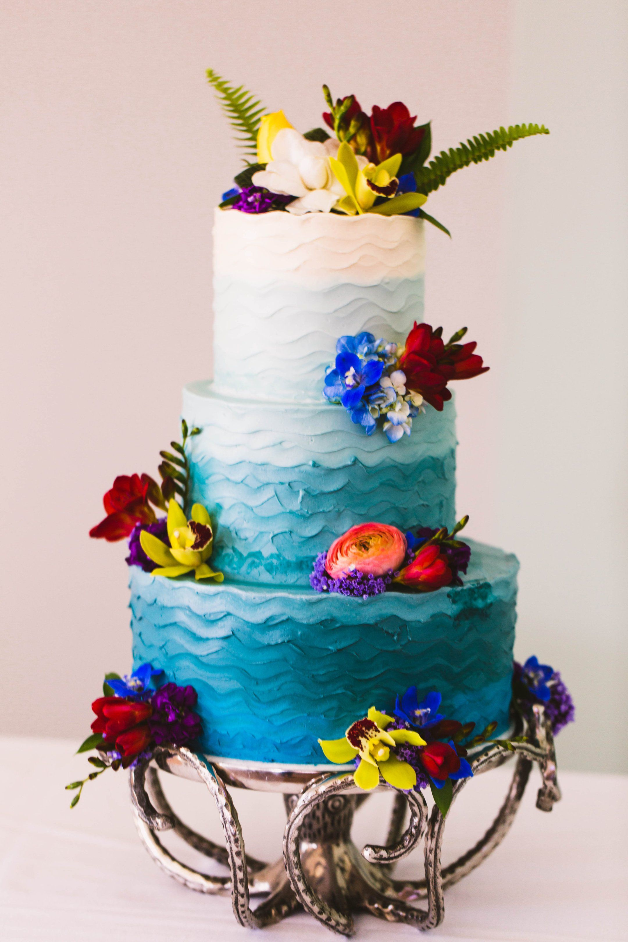 3 Tier Blue Onbre Cake With Bright Flowers By Nicole Bakes Cakes, Los  Angeles, CA. Wedding Planner: Moxie Bright Events