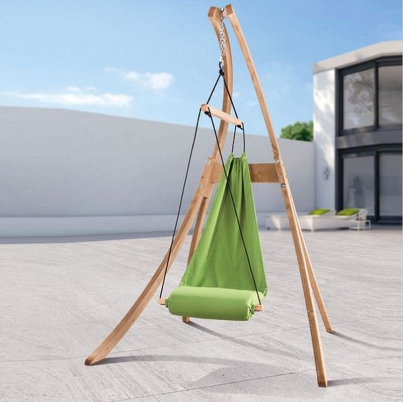 Furniture Chic Wooden Stand Plan With Unique Green Hammock Chair