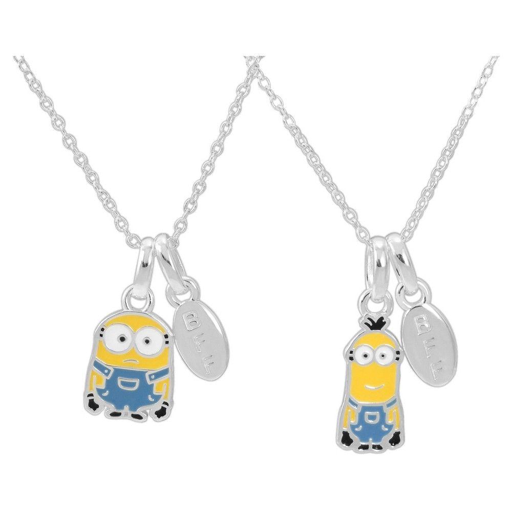 Universal minions sterling silver bff pendant necklace set kids