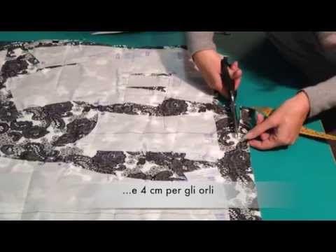 Piazzamento modello e taglio del tessuto - Modello Marfy 3022 - YouTube
