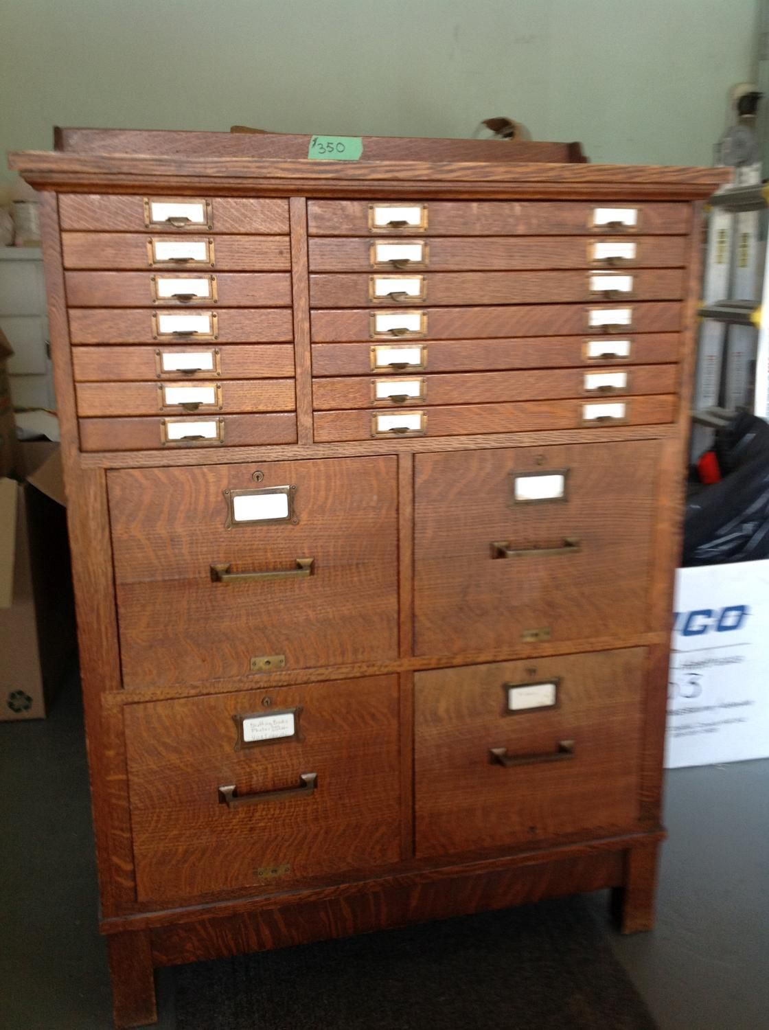 For Sale: Unique Antique Filing Cabinet - OAK filing cabinet, never been  refinished. Four legal size drawers and 16 paper supply drawers. One of a  kind. - Unique Antique Filing Cabinet Brass Monkey Filing Cabinet