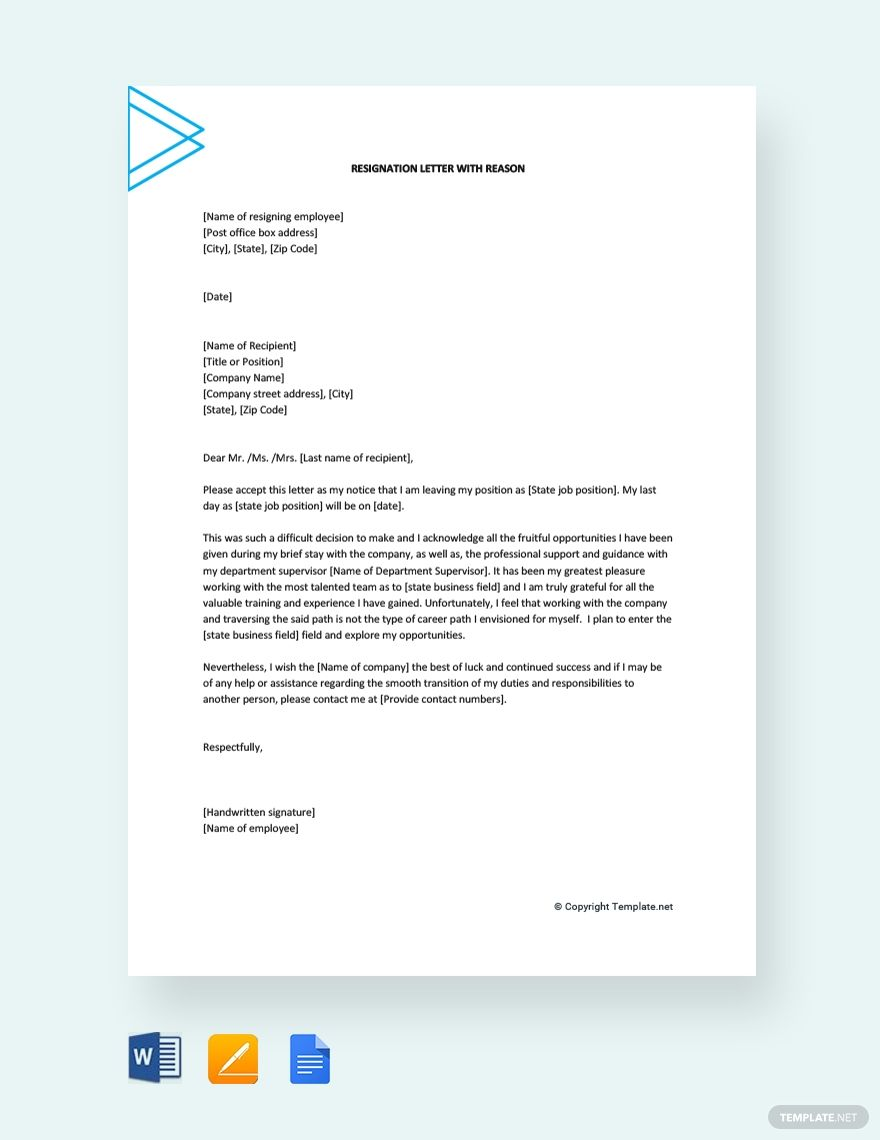 Resignation Letter with Reason | Reference letter, Lettering ...
