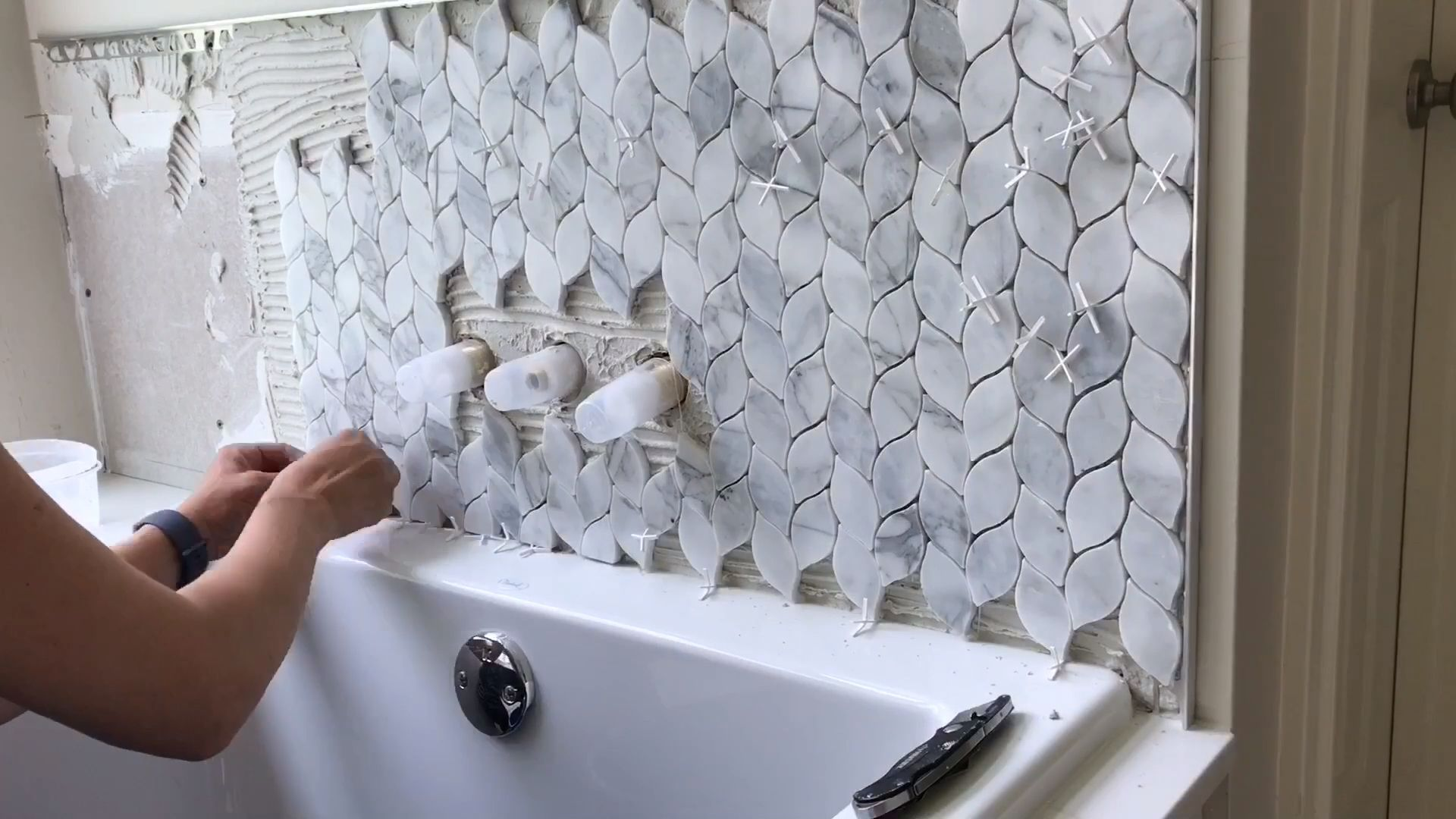 Just a quick look at the Marble Mosaic tile I just installed in our Master Bathroom. Click to see my install tips and more pictures from my bathroom remodel. 😊 #abbottsathome #bathroomtiles #marbletiles #marblebathroom #mosaictiles #tiling #bathroomremodel