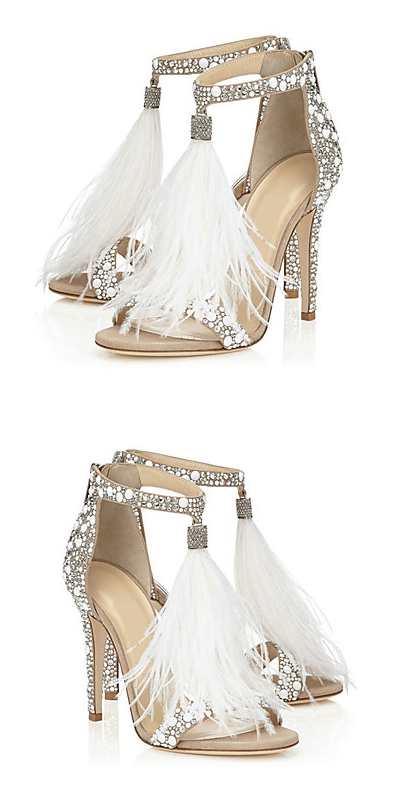 8cbdd16896 Angel-like sparkling feather tassel open toe stiletto heel evening sandals.  Wear them for date  wedding  special events  parties .