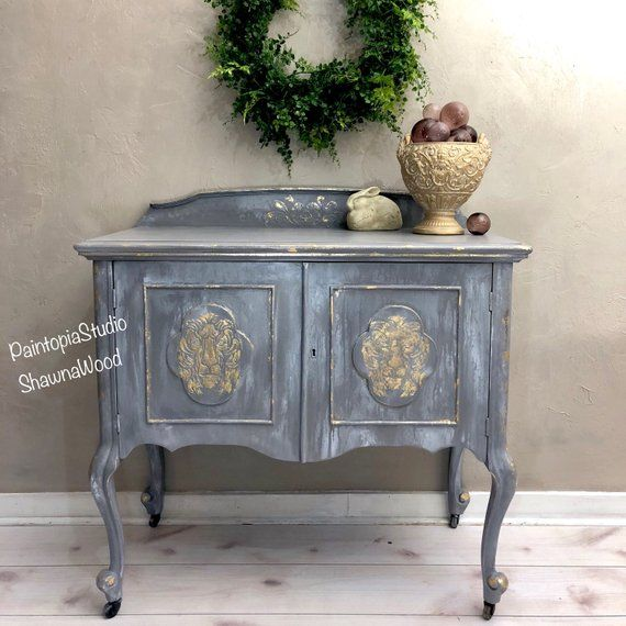 Vintage Grey Cabinet Gray Gold Sideboard Lion Head Buffet Hand Painted Furniture