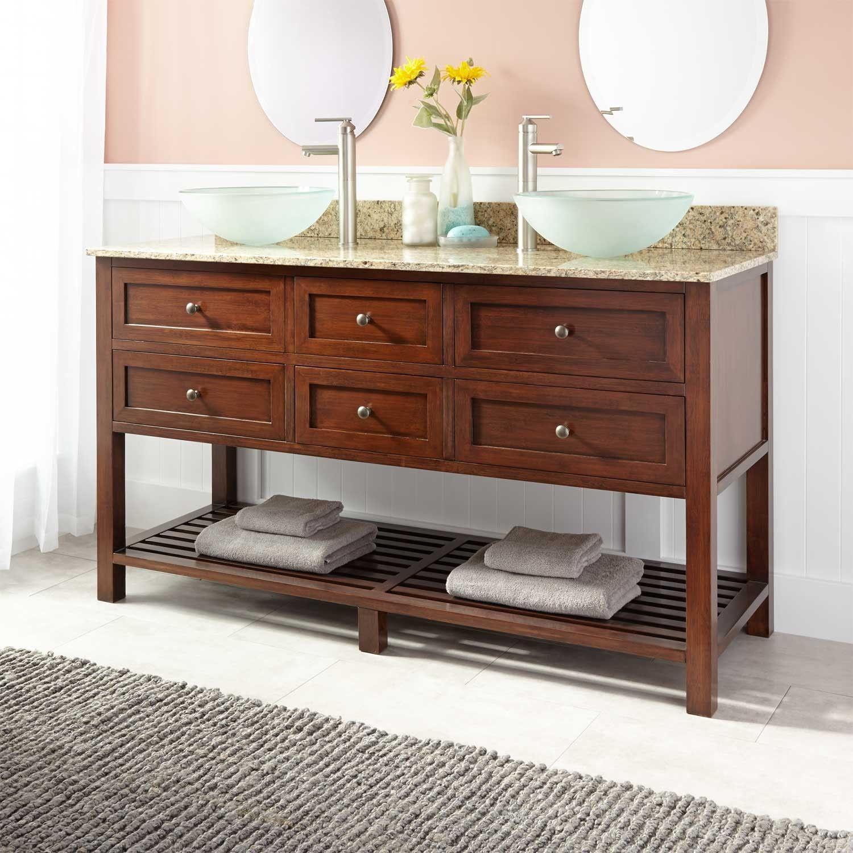 Taren Bamboo Double Vessel Sink Console Vanity Light Espresso - 60 inch wide bathroom vanity light