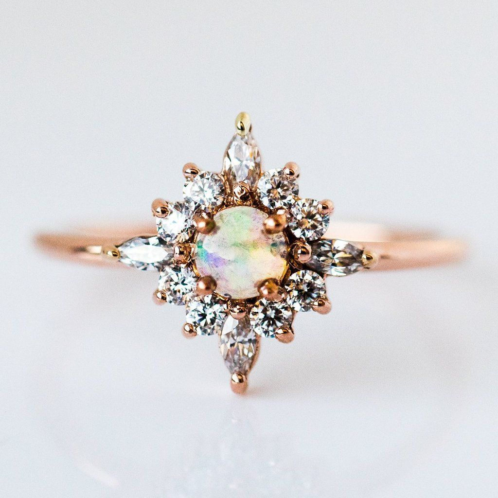 Skylar Ring with Opal #weddingring