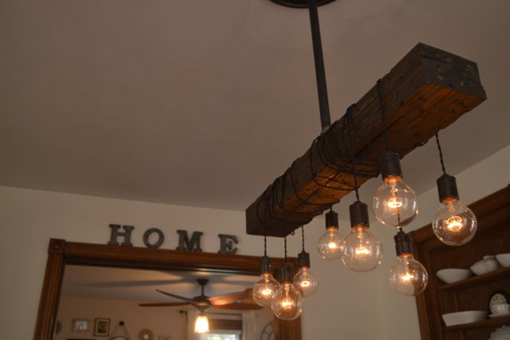 Wood Beam Light Farmhouse Chandelier Kitchen Island Light