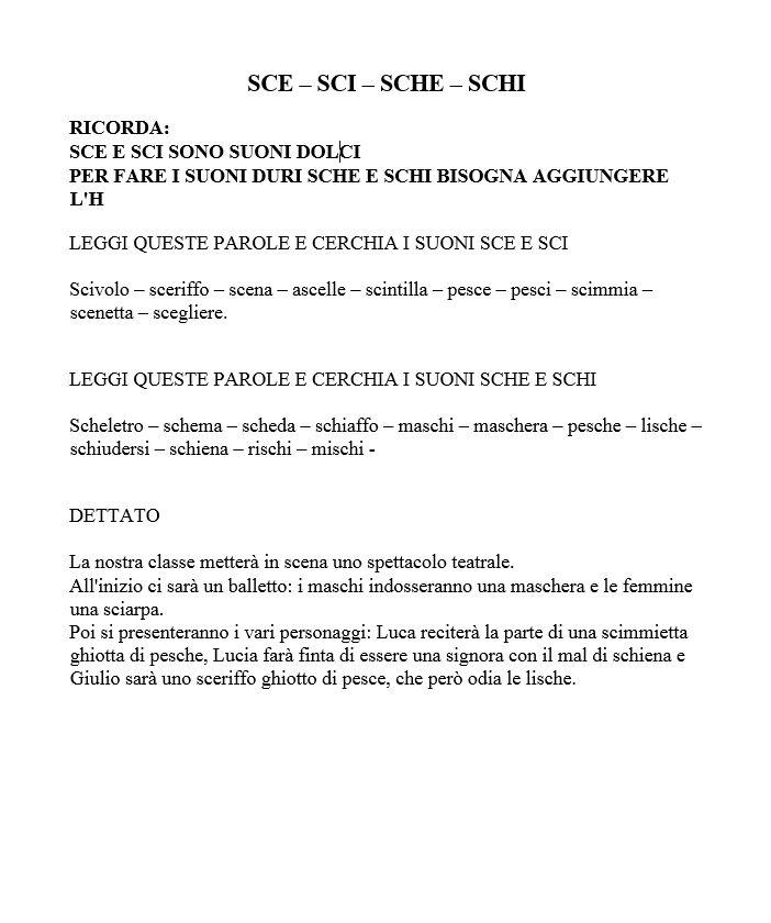 Schede Didattiche Sce Sci Sche Trovate Sul Web Italian For Me