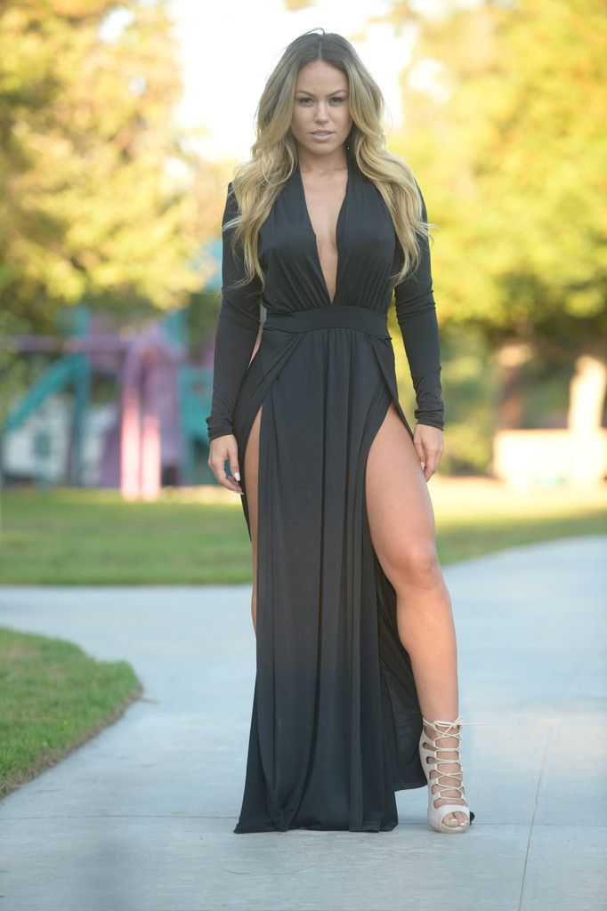 dd083230 Deep V Neckline - Padded Shoulders - Maxi Length - Double Slit - Long  Sleeve - Made in USA - 95% Polyester 5% Spandex