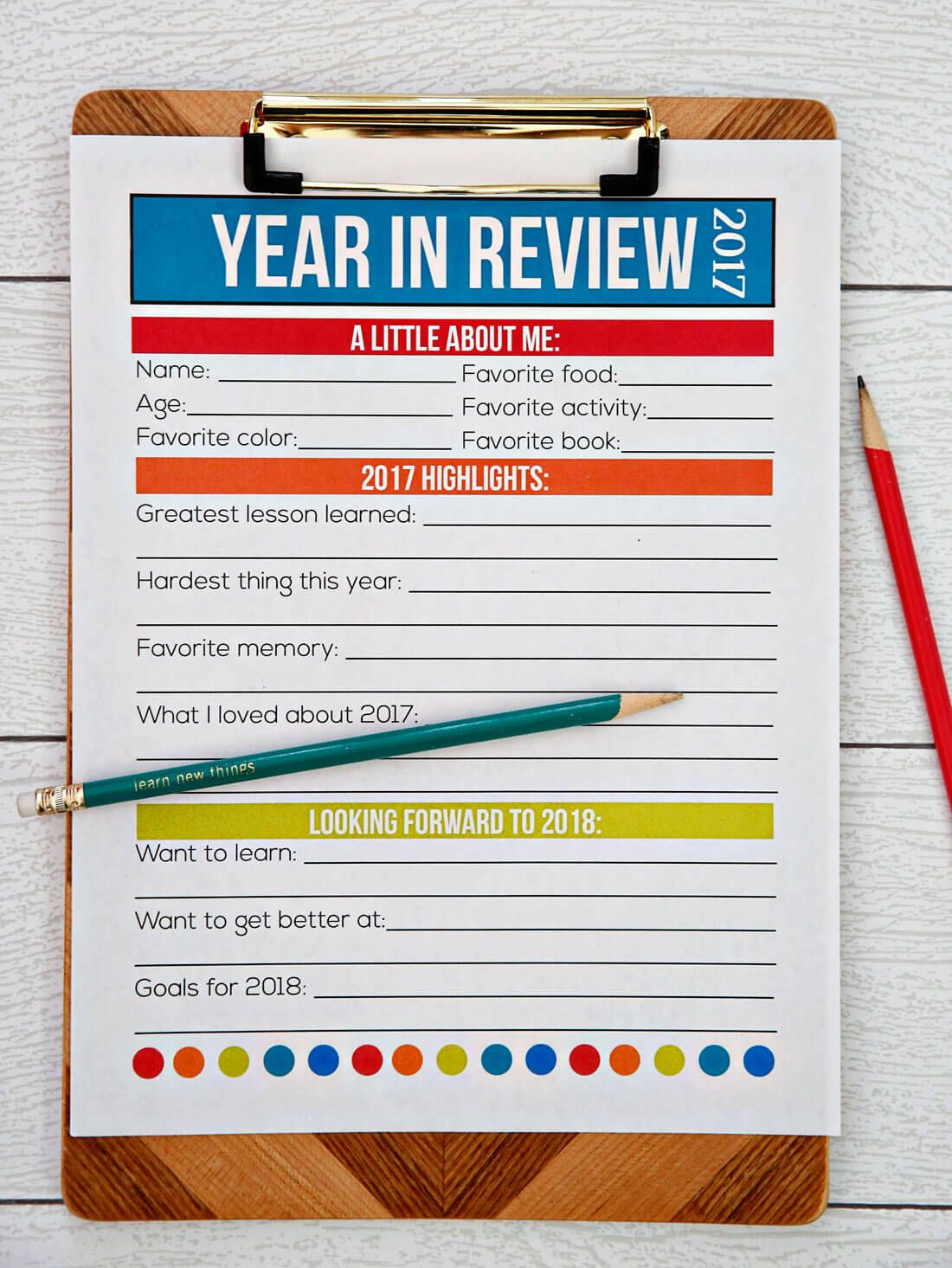 PRINTABLE NEW YEAR'S RESOLUTION FOR KIDS 2019 New years