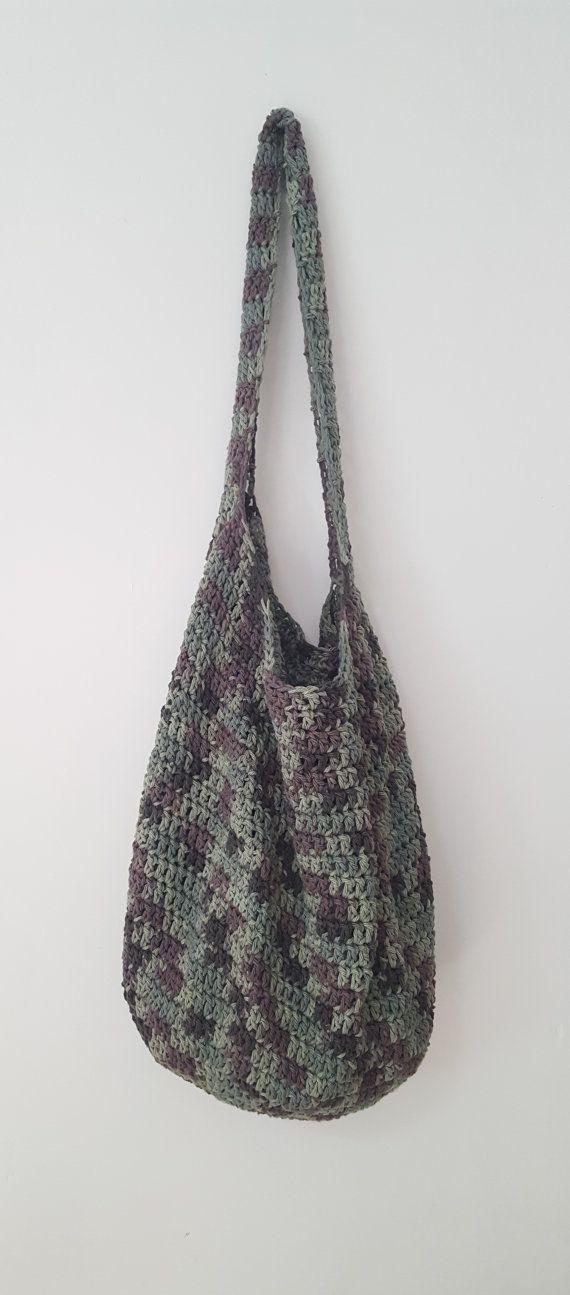 Camo Basic Crochet Bag - Camo Crochet Purse - Camo Reusable Grocery ...