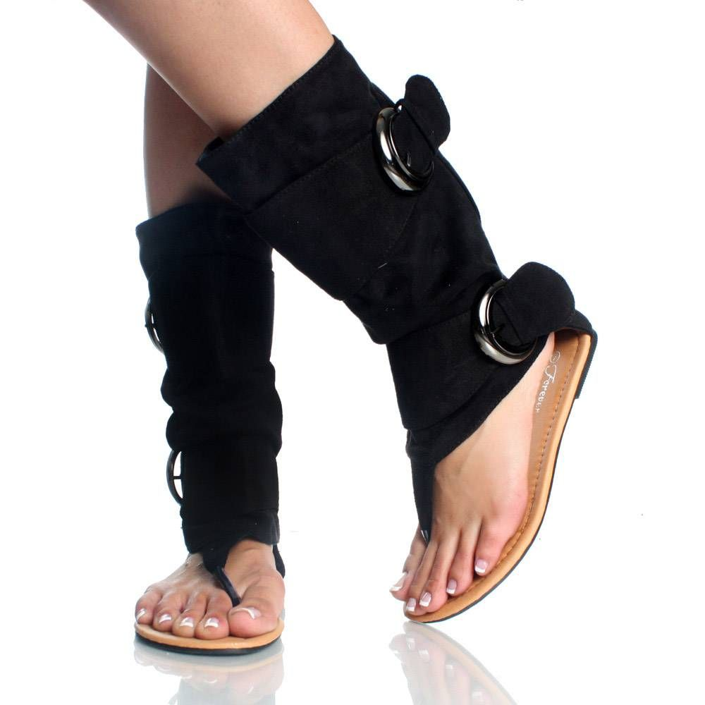 Black Suede Buckle Slouch Boot Open Toe Flat Dress Sandal Womens Slouched Boots Girly Shoes Sparkly Bag [ 1000 x 1000 Pixel ]