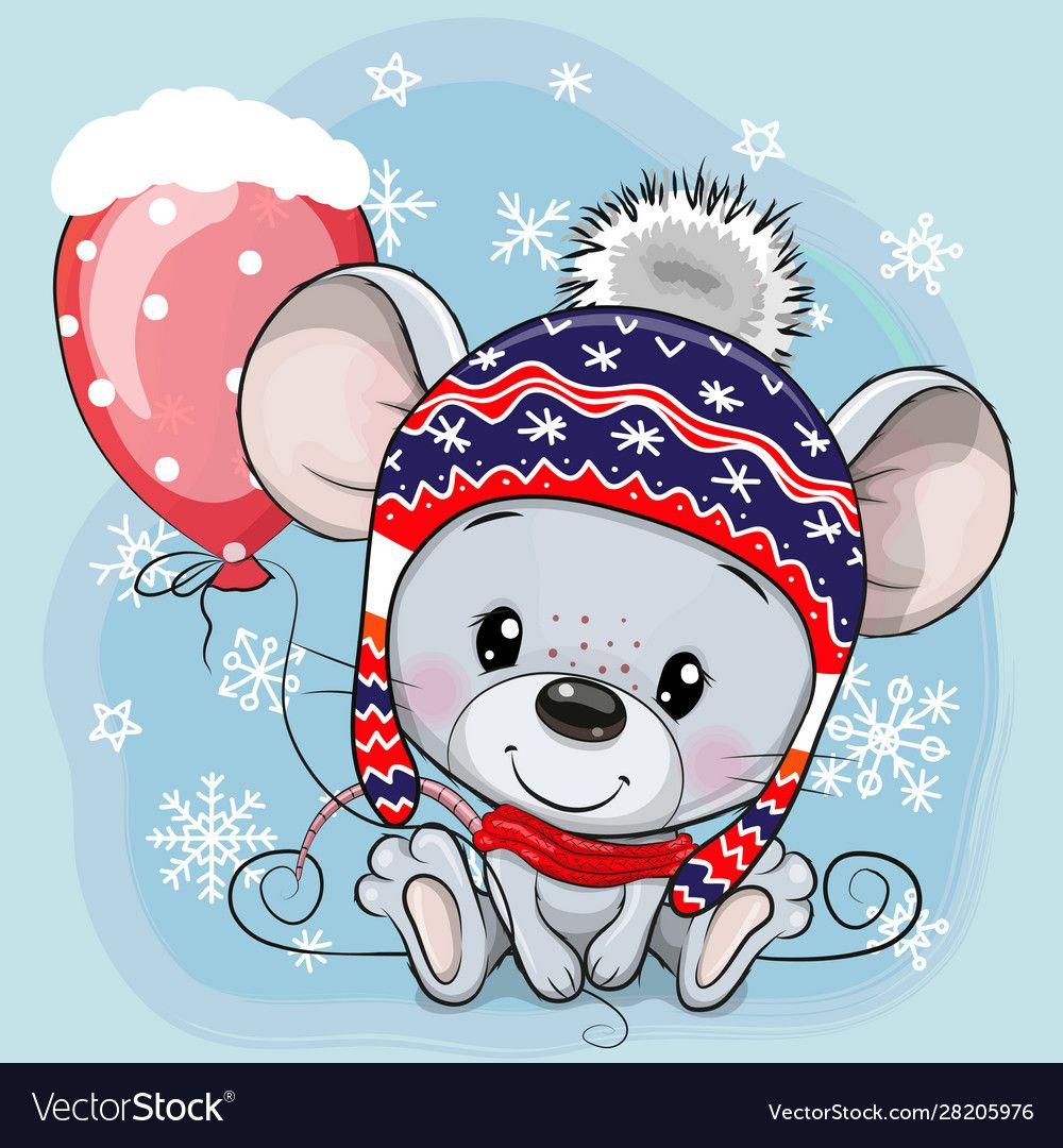 Cute Cartoon Mouse In A Knit Cap With A Red Balloon Download A Free Preview Or High Quality Adobe Illustra In 2020 Fox Artwork Cute Cartoon Pictures Greeting Card Art