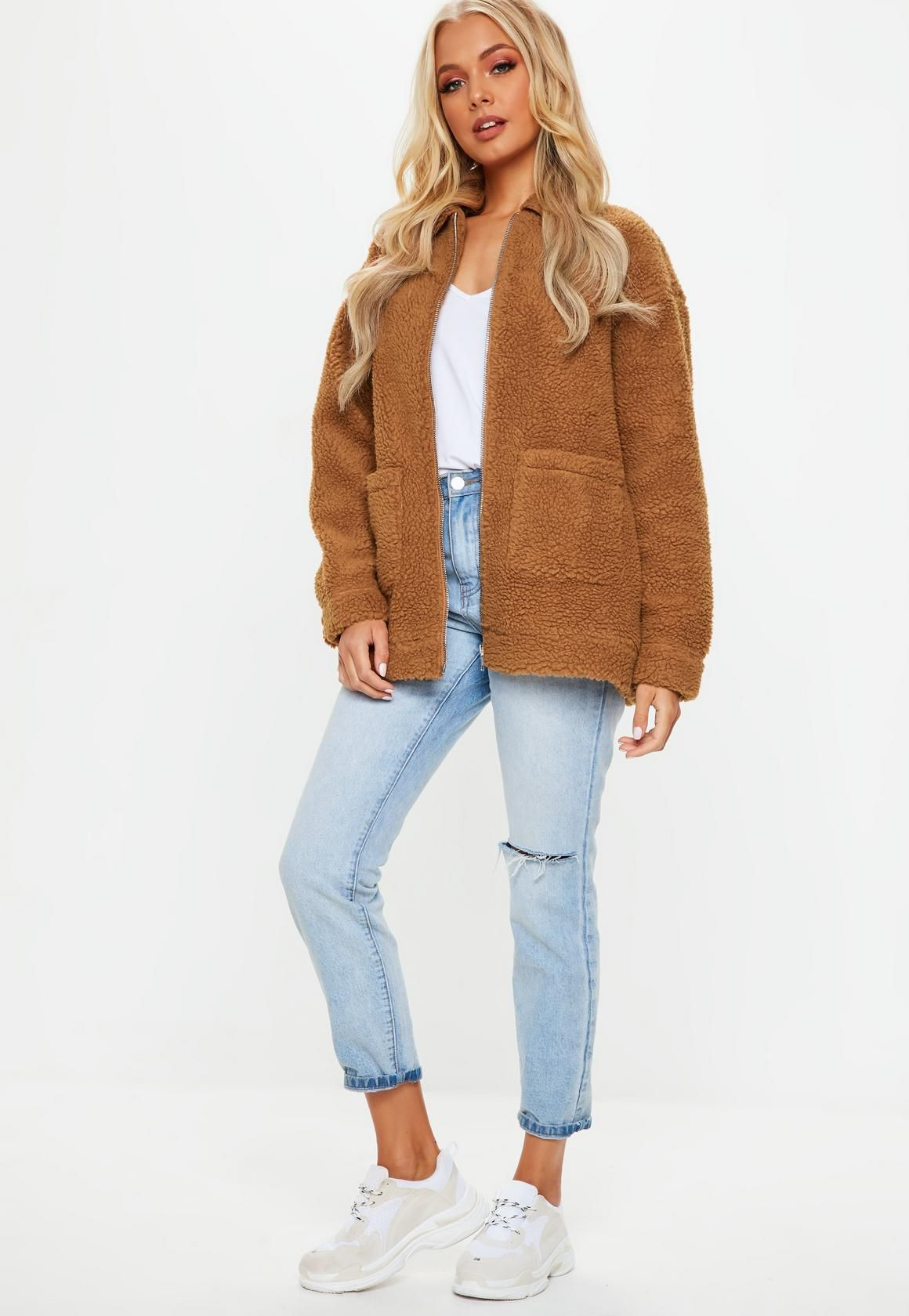authentic quality high fashion huge discount Missguided Rust Oversized Borg Zip Through Teddy Jacket ...