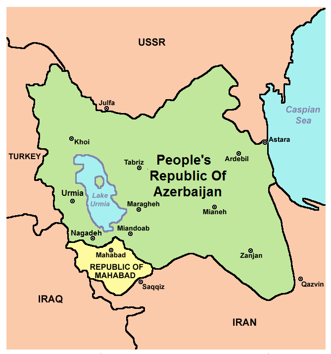 Map Of The Short Lived Republic Of Mahabad Alongside The People S Republic Of Azerbaijan Middle Eastern History The Republic Map