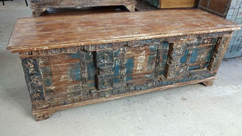 Couchtisch antik  Truhe Kiste Aufbewahrung Couchtisch Antik Kolonial Vintage ...