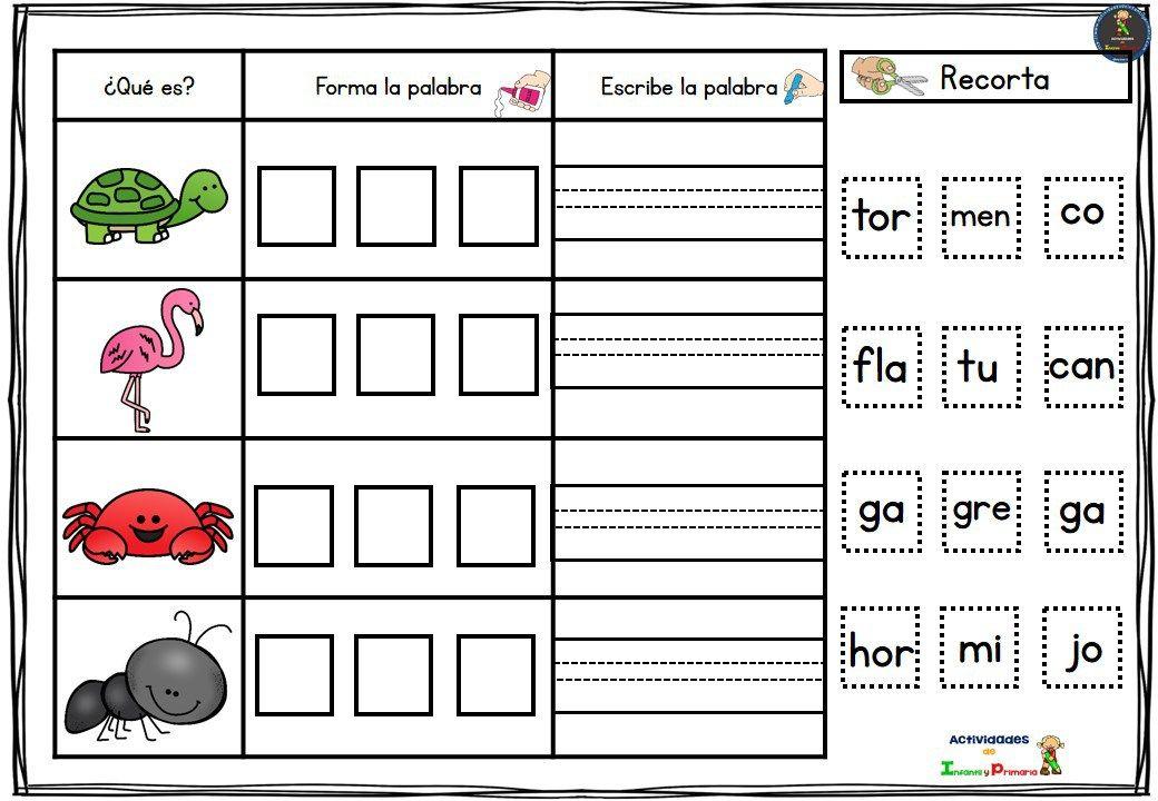 Fichas Para Trabajar Las Palabras De 3 Sílabas 1 Silabas Palabras Con Silabas Trabadas Escribir Palabras