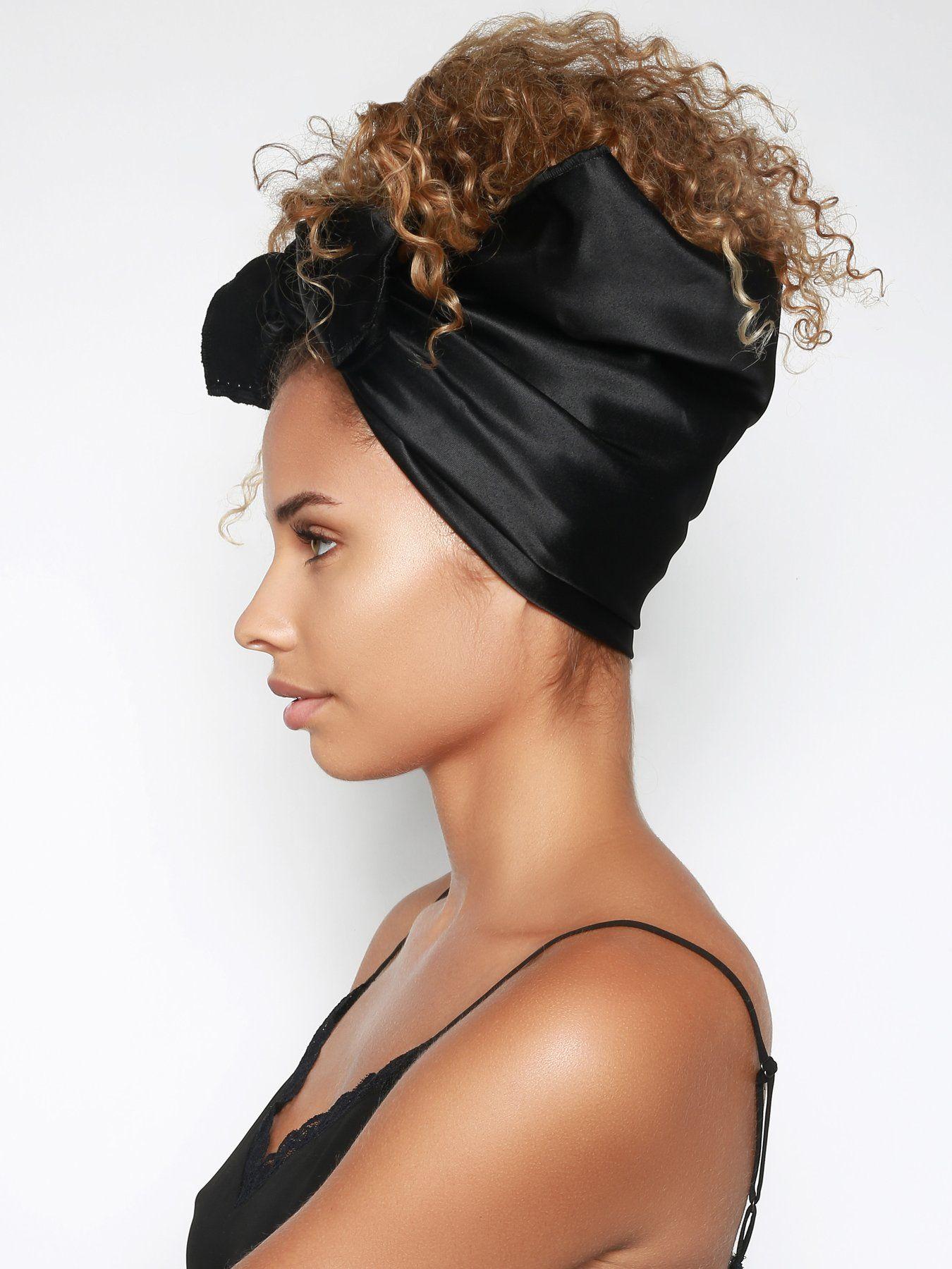 Black Satin Head Scarf   Hair scarf styles, Sleep ...
