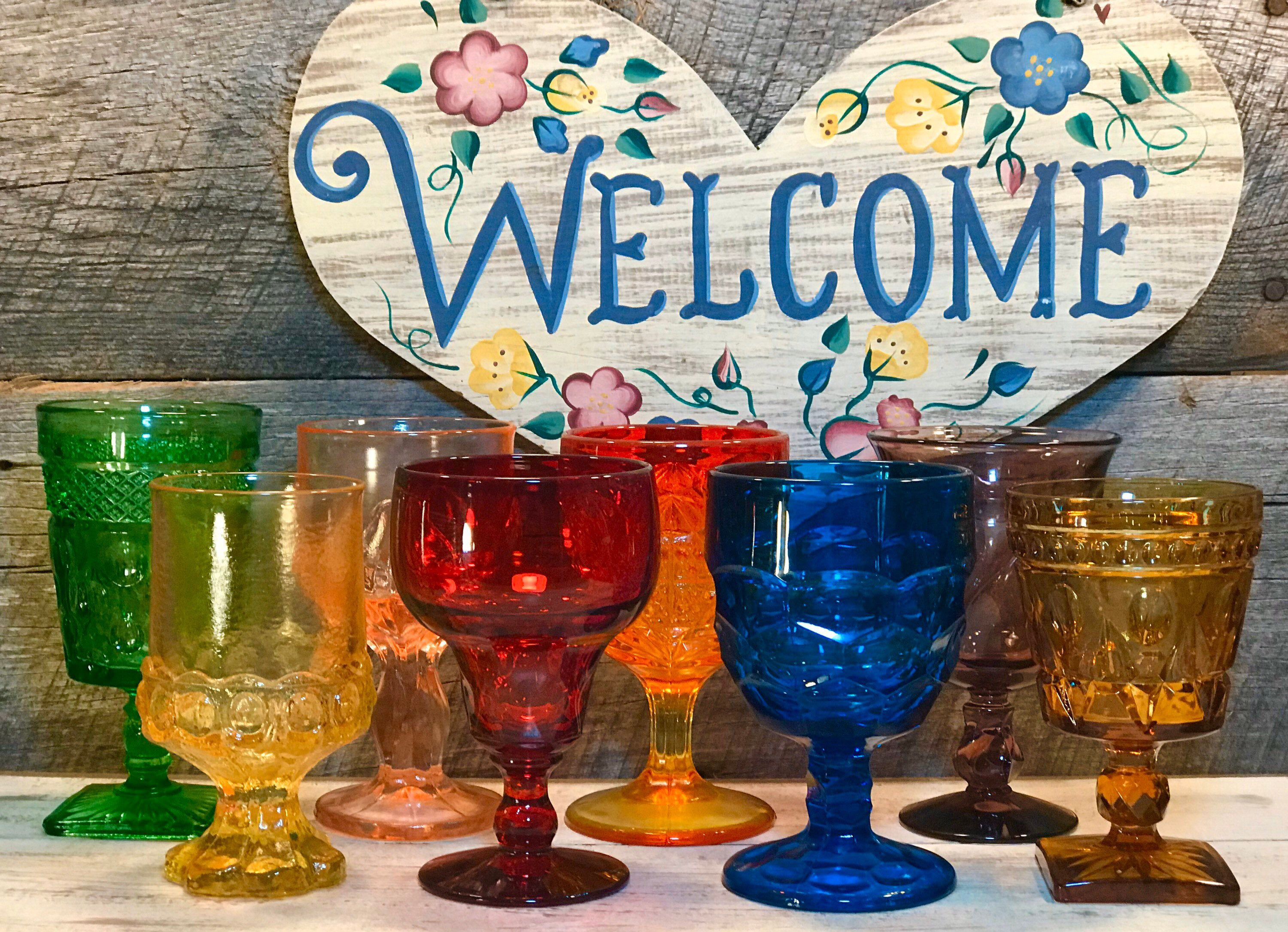 Set Of 8 Eight Mismatched Gem Colored Water Goblets Premium Vintage Glassware Collection Weddings Farmhouse Cottage Fostoria Fenton In 2020 Glassware Vintage Collectible Glassware Collection Vintage Glassware