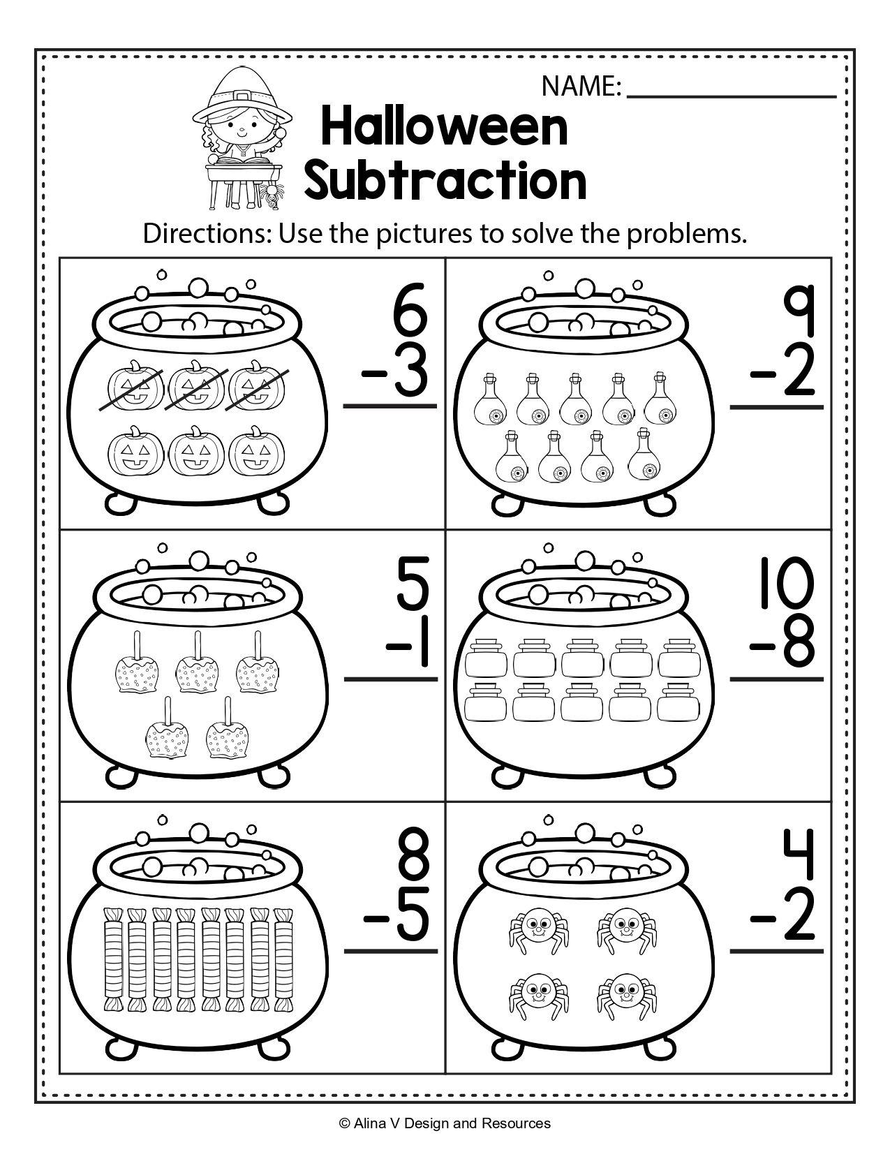 Free Halloween Addition Worksheets For Kindergarten In