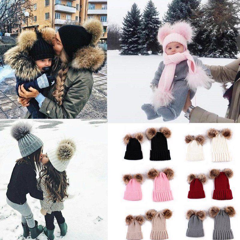 bcfb61ed3 2PCS Mom Mother Baby Knit Pom Bobble Hat Kids Girls Boys Winter Warm ...