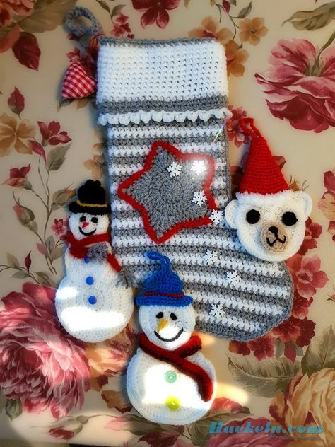 Nikolaus Strumpf Stern Häkeln Crochet Christmasstocking Nikolaus