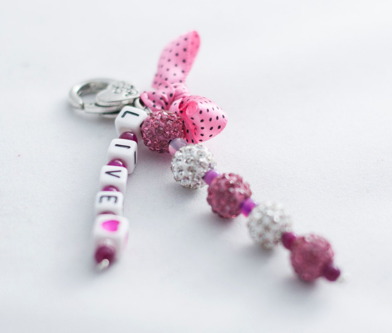 Baby girl pram charm, keyring, keychain, bag tag, hugs tag, shamballa beads, stroller accessory, baby girl shower gift, baby girl, gift by Theordinarydiary on Etsy