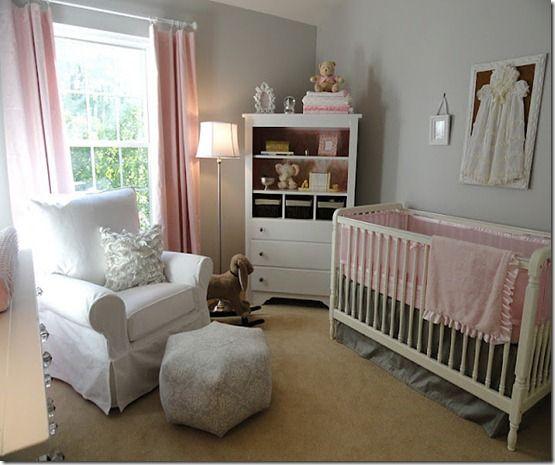 grey and pink nursery @Heather Gardner