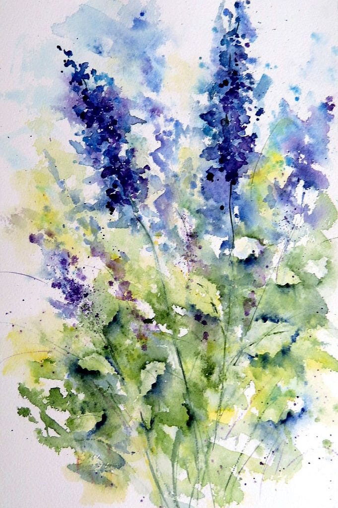 Delphinium Watercolor Flowers Floral Watercolor Flower Art