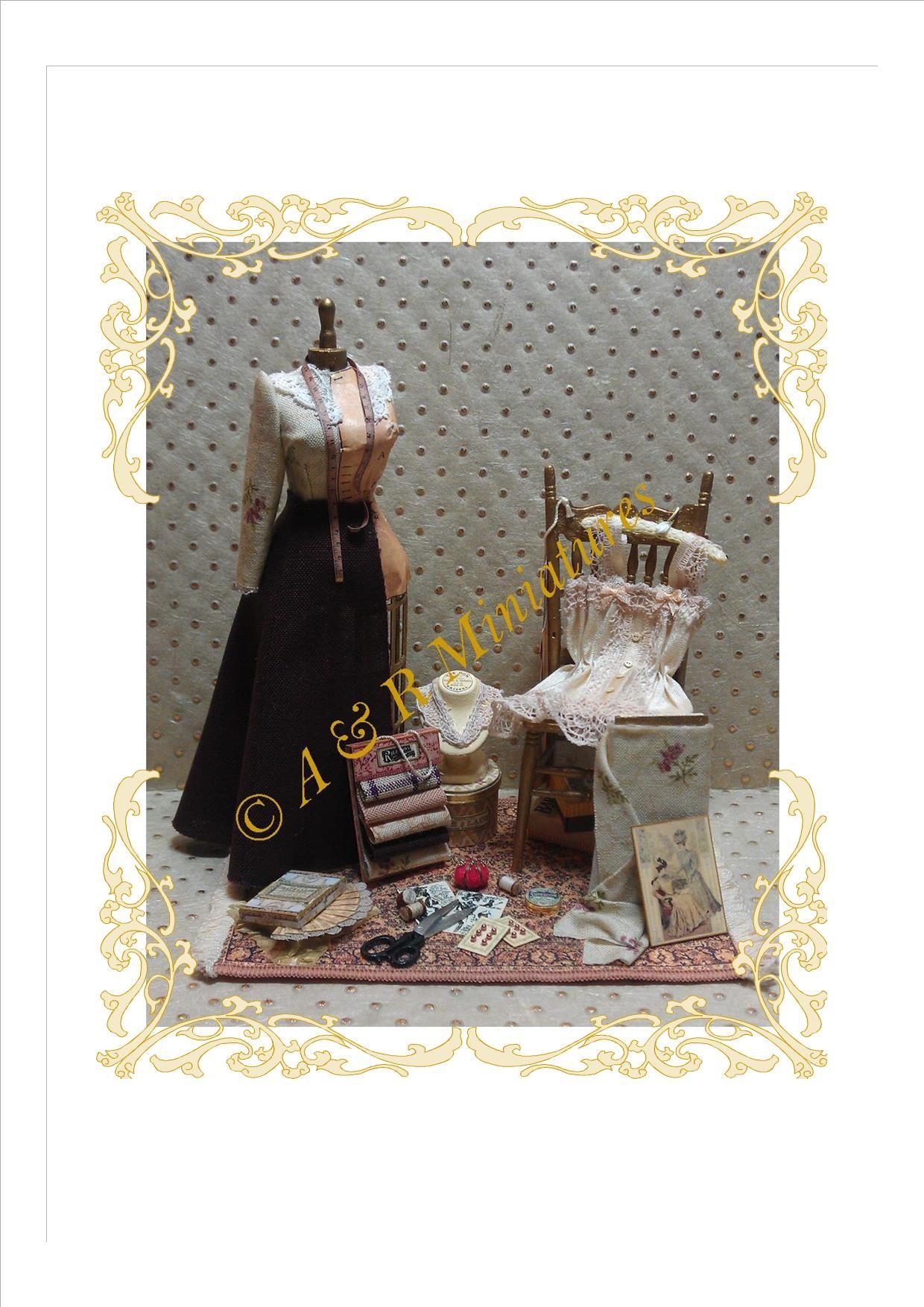 Contador de tienda de estilo vintage mostrar patrones de costura casa de muñecas miniaturas