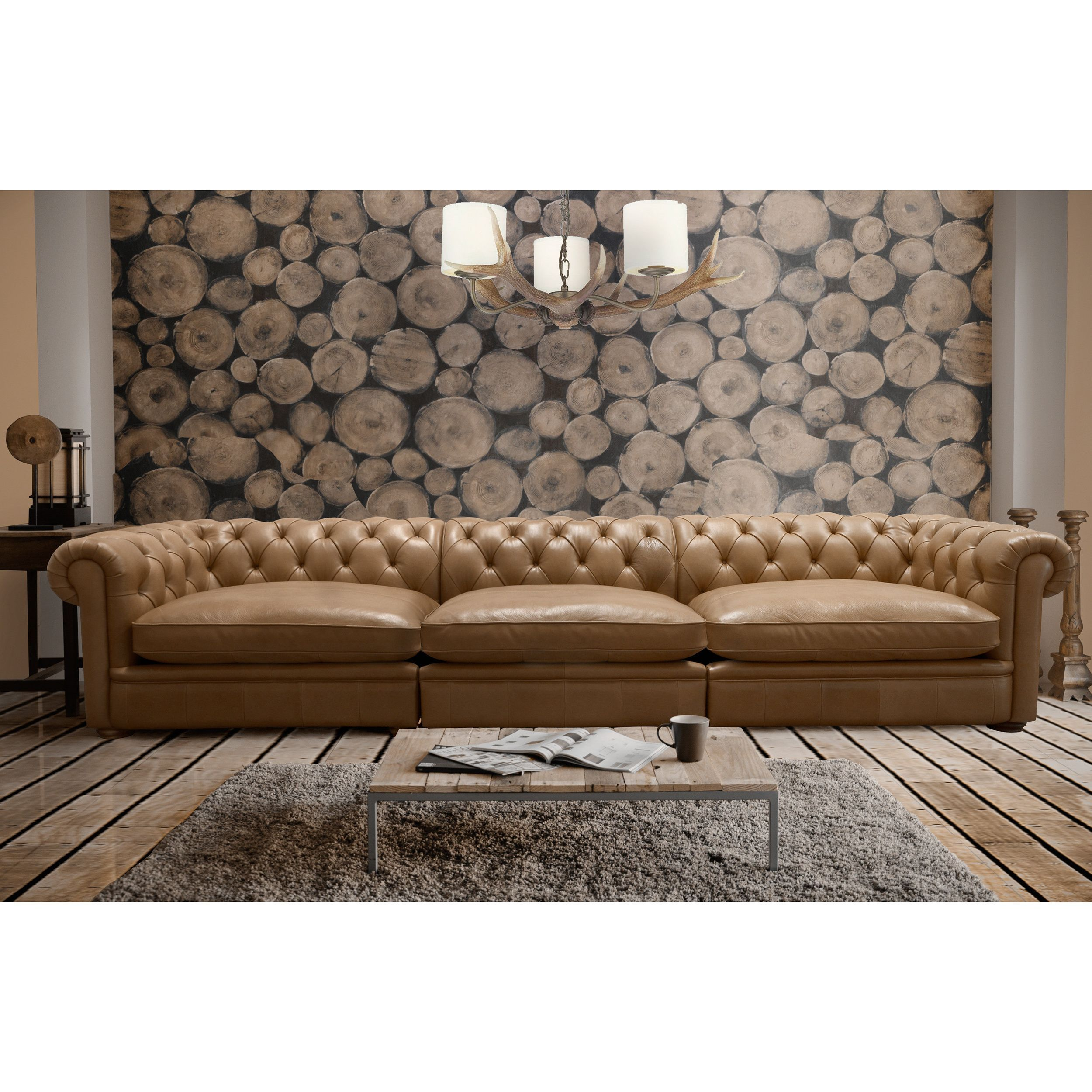 Abraham 142 inch 3 piece Aurora Honey Leather Sofa Set Overstock