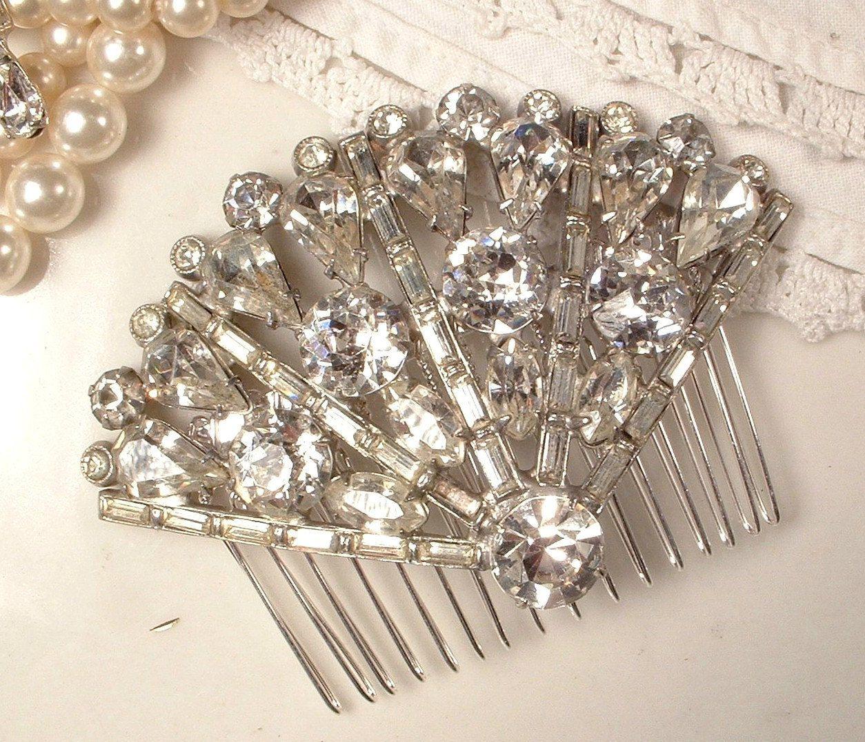 1920s Art Deco True Vintage Flapper Rhinestone Bridal Fan Hair Etsy Headpiece Jewelry Rhinestone Bridal True Vintage