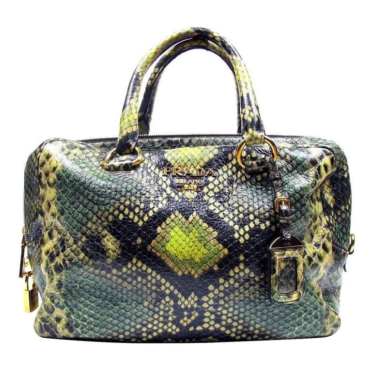 2291401d9a0389 Prada Python Print Leather Large Bag Tote Brown Green Snakeskin Gold  Saffiano