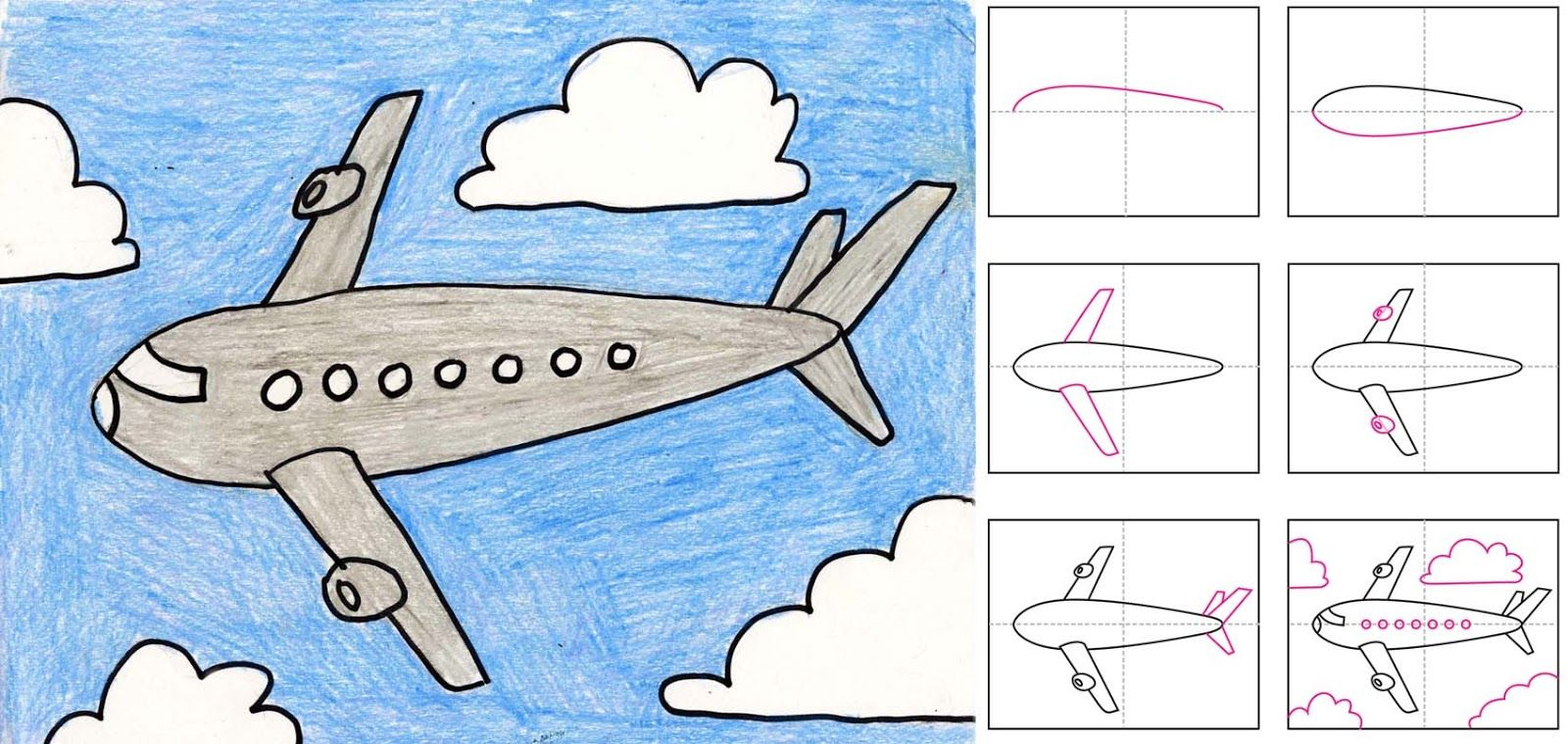 Art projects for kids how to draw an airplane includes step by