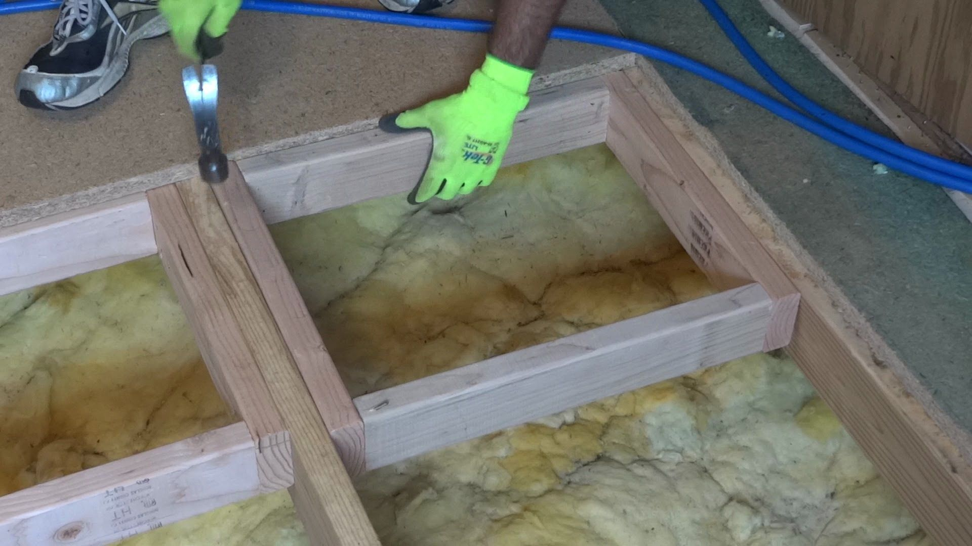 How to repair or replace a damaged section of sub floor with square     How to repair or replace a damaged section of sub floor with square framing  inserts