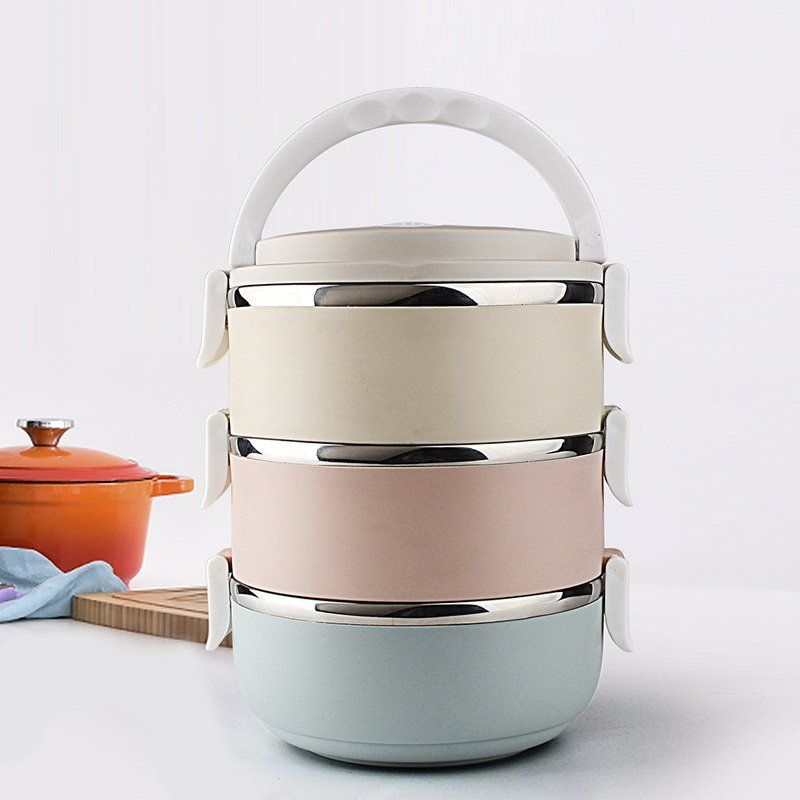 3-Tier Stainless Steel Square Lunch Box Bento Box Insulated Lunch Bag Spoon and Fork Set for Kids Students Adults School Office