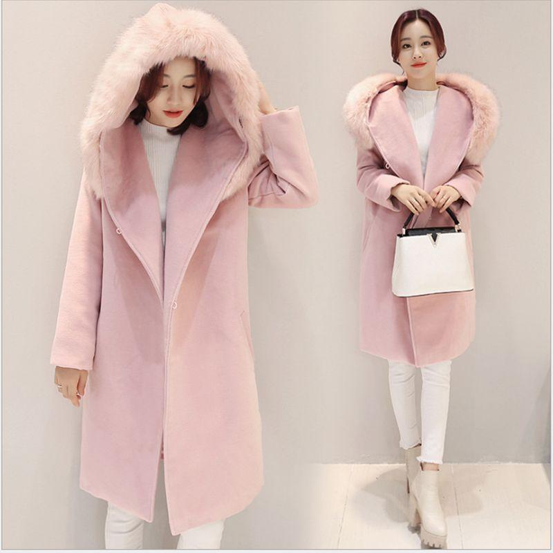 Lange Dames Winterjas Met Bontkraag.Want Manteau Couleur Pastel Hooded Faux Bontkraag Lange Winter