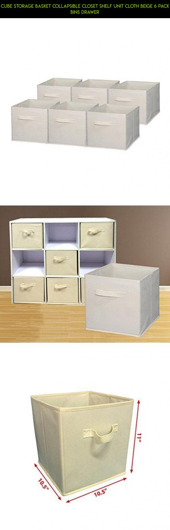 Cube Storage Basket Collapsible Closet Shelf Unit Cloth Beige 6 Pack Bins Drawer