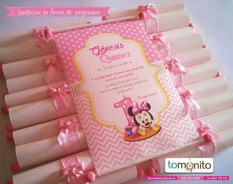Tarjeta Invitación Minnie Bb Tarjetas De Invitación