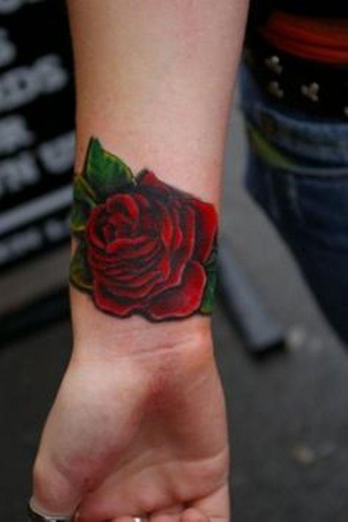 Dark Red Rose Tattoo On Wrist Body Image Pinterest Tattoos