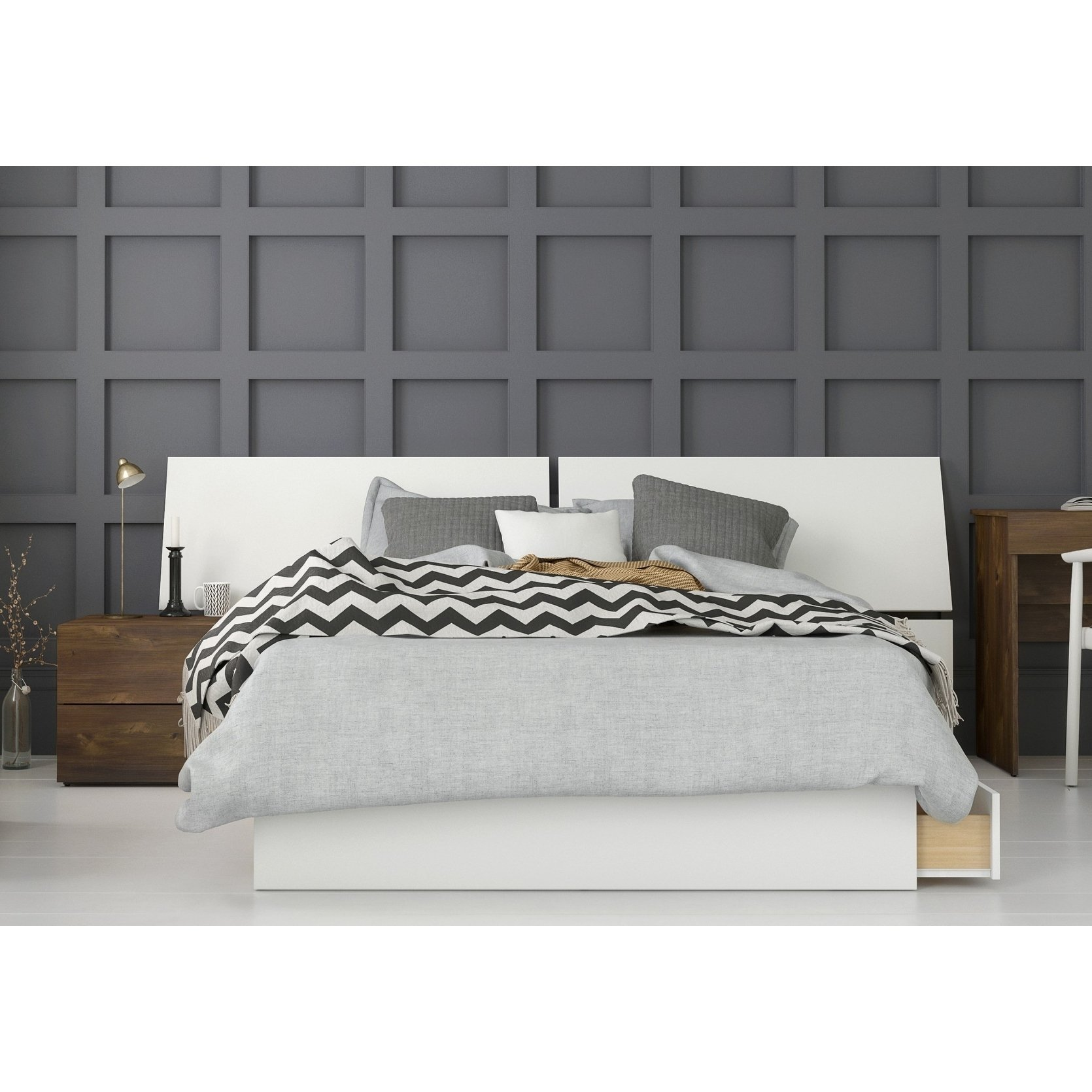 Arcadia 3 Piece Bedroom Set, Truffle & White (Full ...