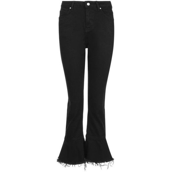 Topshop Moto Frill Hem Dree Kick Flare Jeans ($26) ❤ liked on Polyvore featuring jeans, topshop jeans, flared cropped jeans, zip jeans, zipper fly jeans and zipper jeans