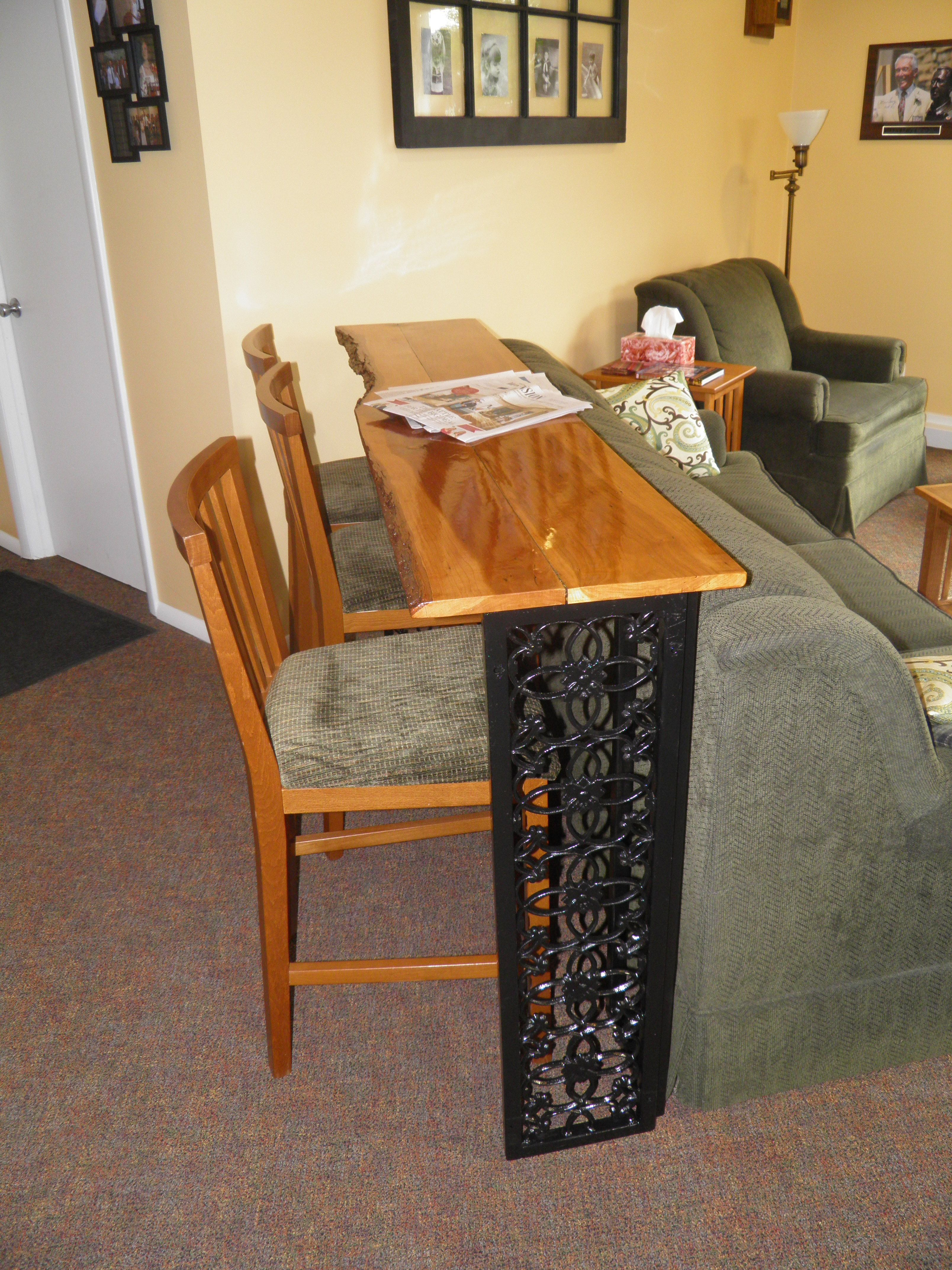 family room bar height table from recycled metal shutters   Stuff We ...