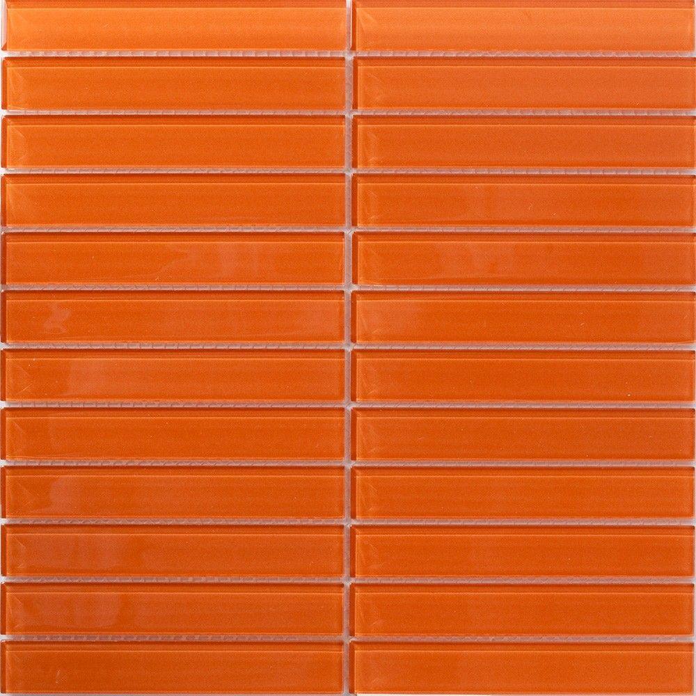 Retro Orange Subway Tile Glass Mosaic Tiles Bathroom Orange