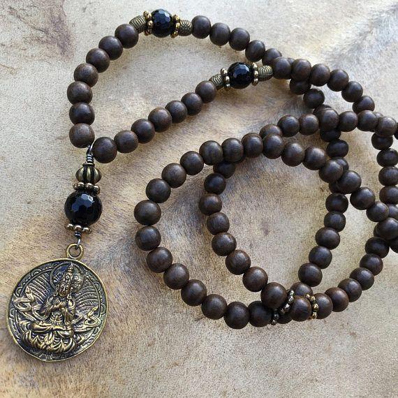 108 Bead Mala Necklace Buddhist Mala Greywood Mala Beads Black Mens Mala Necklace Prayer Bead Necklaces Mala Necklace