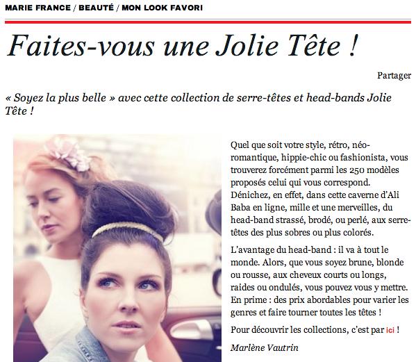 Superbe article sur www.mariefrance.fr sur Jolie Tête ! #headband #serretete #bijoudetete #accessoirecheveux #bandeaucheveux #coiffures     http://www.mariefrance.fr/faites-vous-une-jolie-tete/  http://www.jolietete.fr/nouveautes