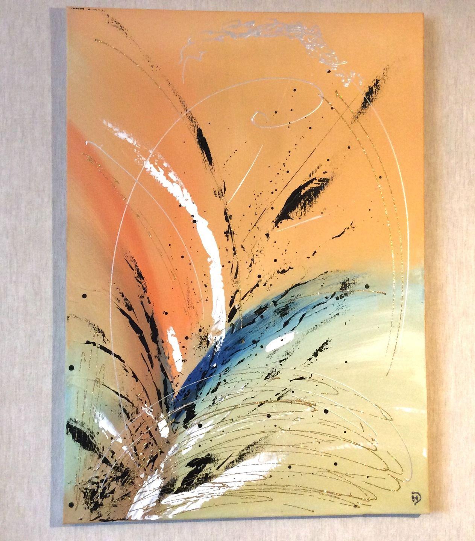Tableau Acrylique Abstrait Couleurs Vives Eclaboussures