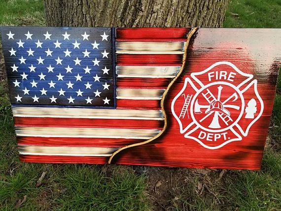 Thin Red Line Flag Plasma Cut Steel USA Sign Sign Firefighter Fireman Support