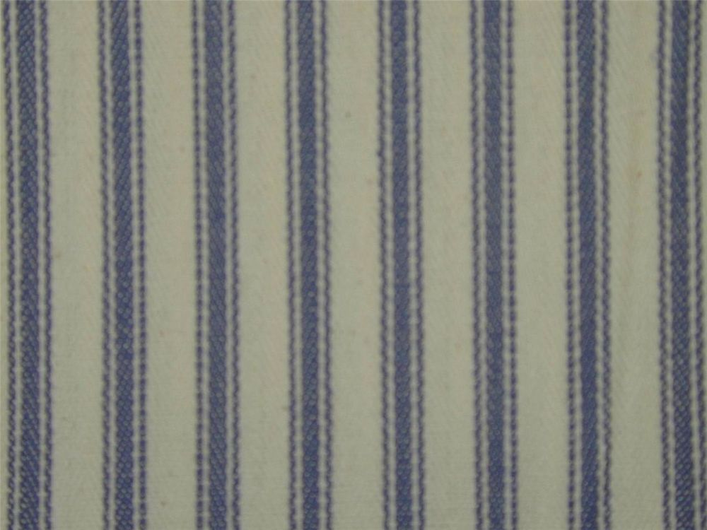 Designer Curtain Upholstery Fabric Extra Wide Ticking Cotton Blue